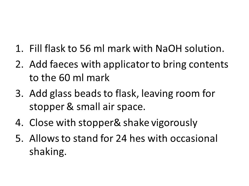 Fill flask to 56 ml mark with NaOH solution.