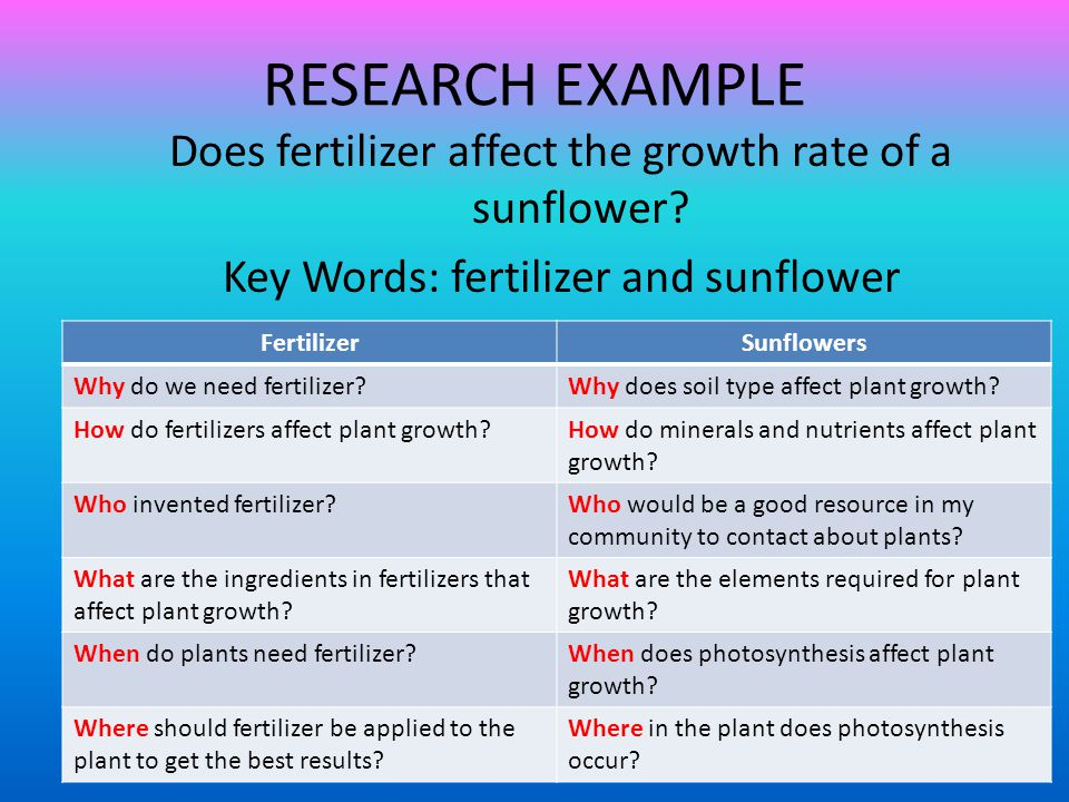 RESEARCH EXAMPLE Does fertilizer affect the growth rate of a sunflower Key Words: fertilizer and sunflower