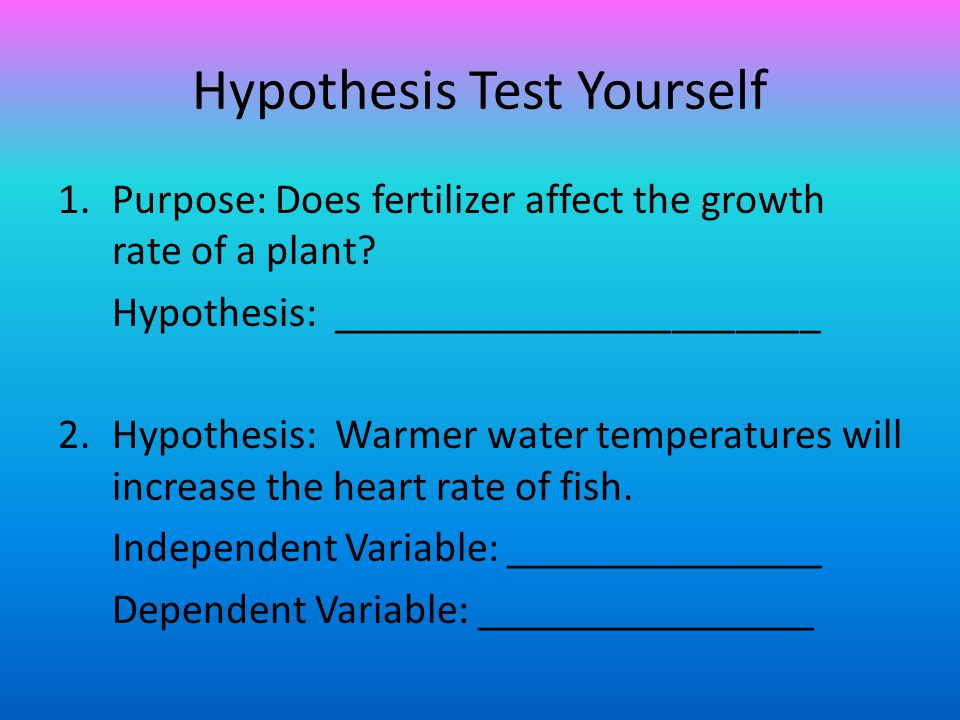Hypothesis Test Yourself