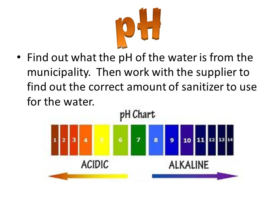 Find out what the pH of the water is from the municipality