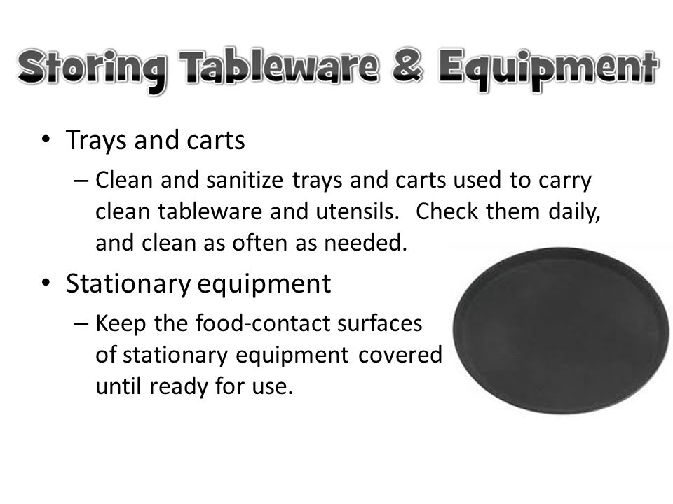 Trays and carts Stationary equipment