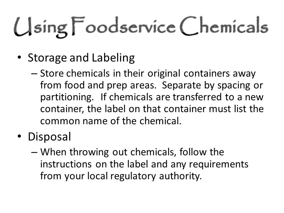 Storage and Labeling Disposal