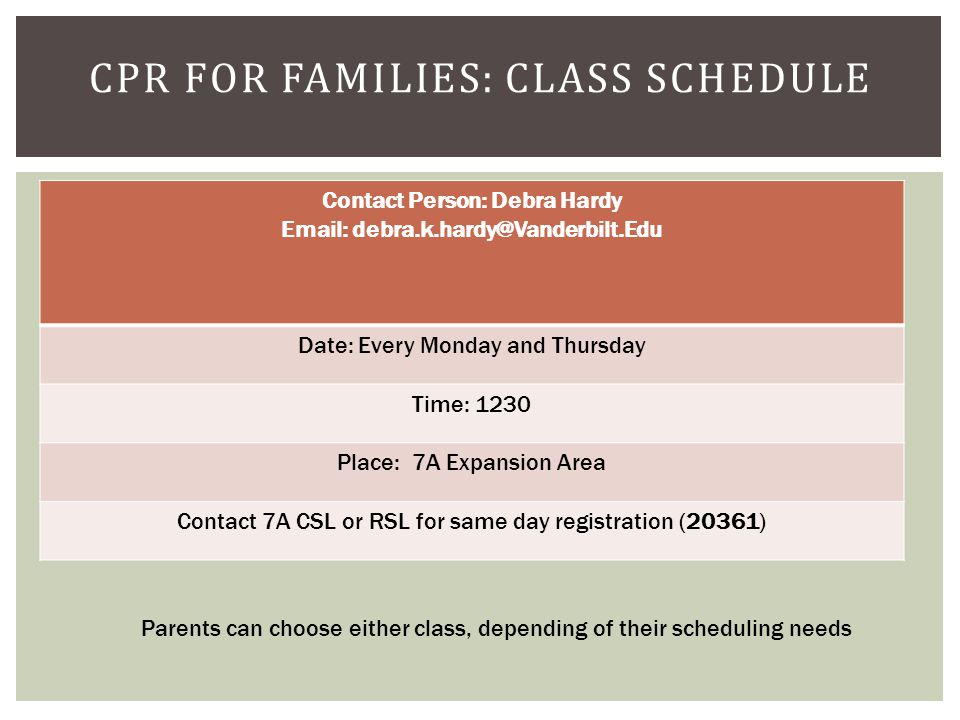 CPR for Families: Class Schedule