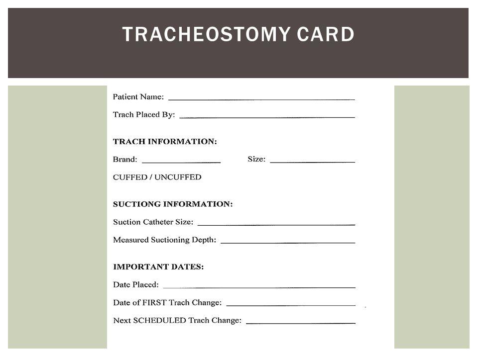 Tracheostomy Card