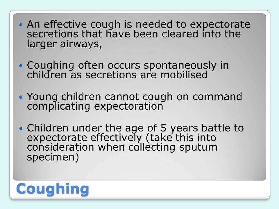 An effective cough is needed to expectorate secretions that have been cleared into the larger airways,