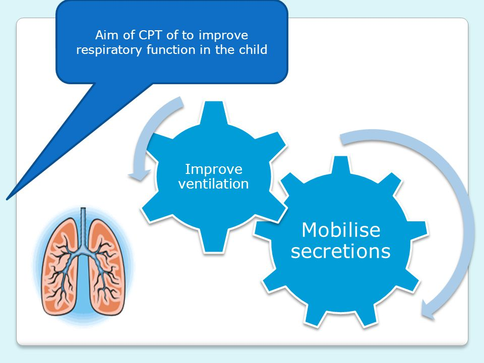 Aim of CPT of to improve respiratory function in the child