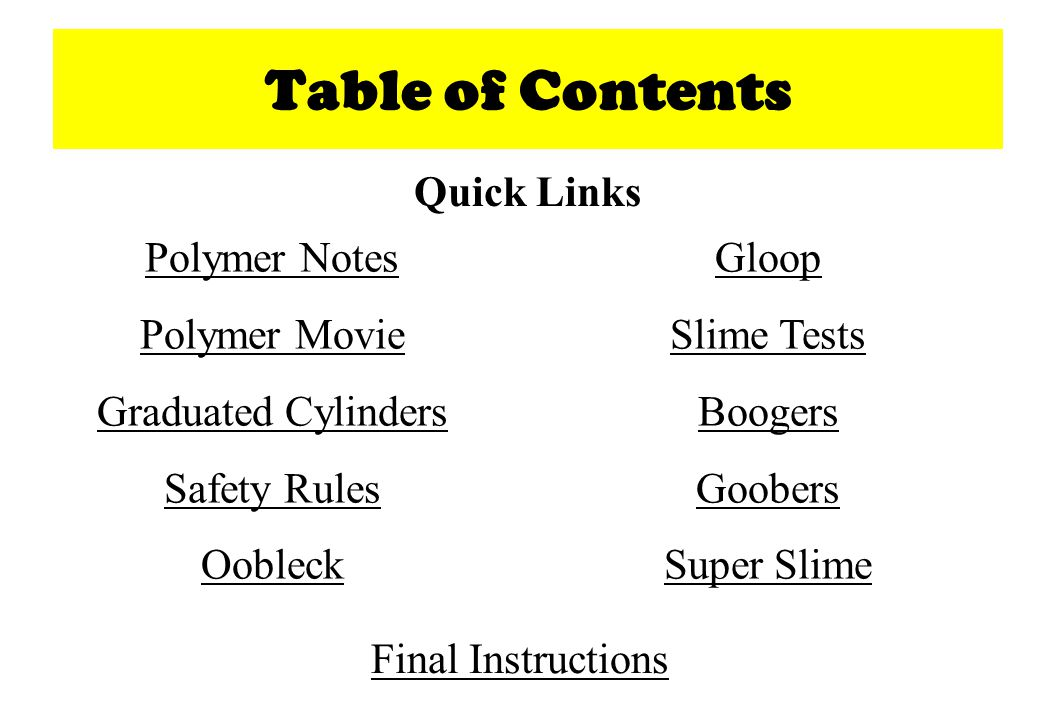 Table of Contents Quick Links Polymer Notes Polymer Movie