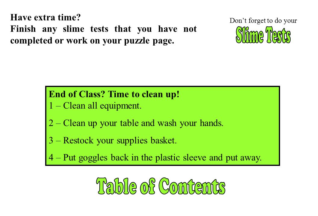Slime Tests Table of Contents Have extra time