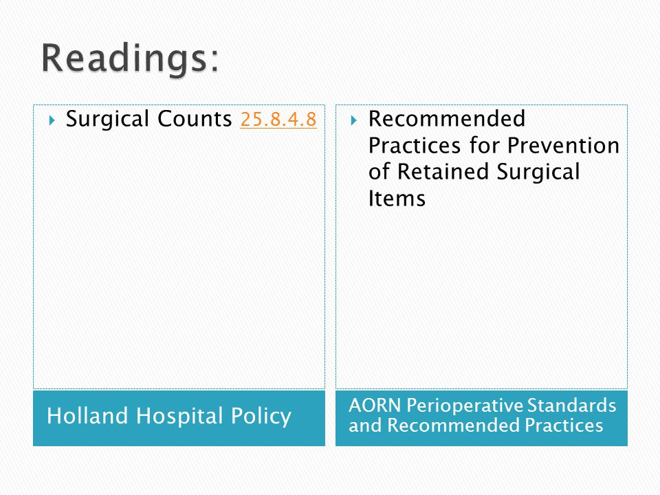 Readings: Surgical Counts 25.8.4.8