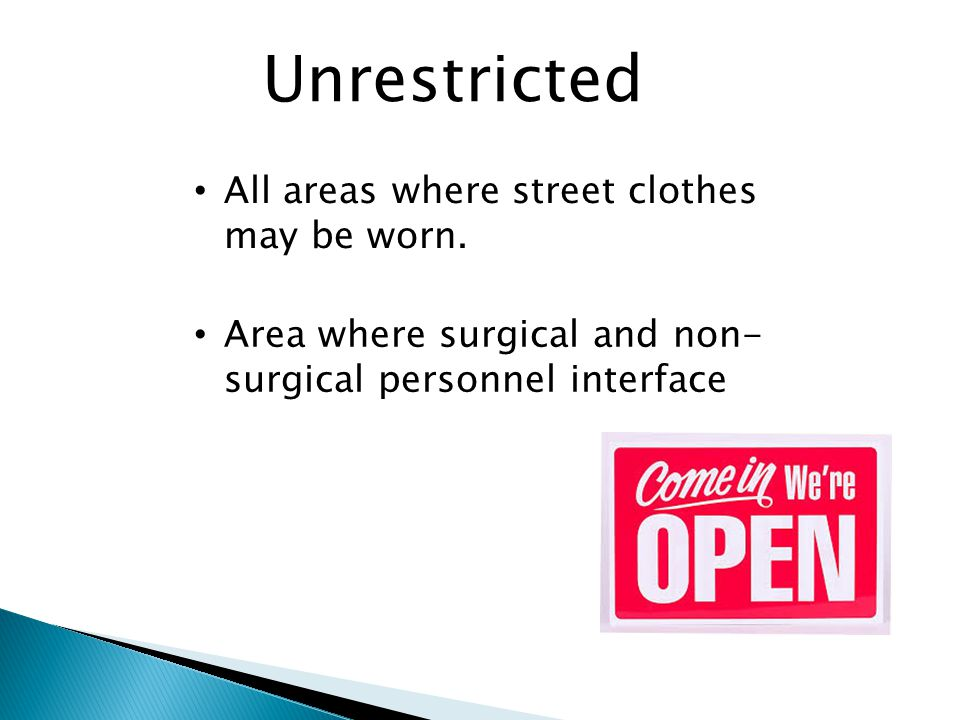 Unrestricted All areas where street clothes may be worn.