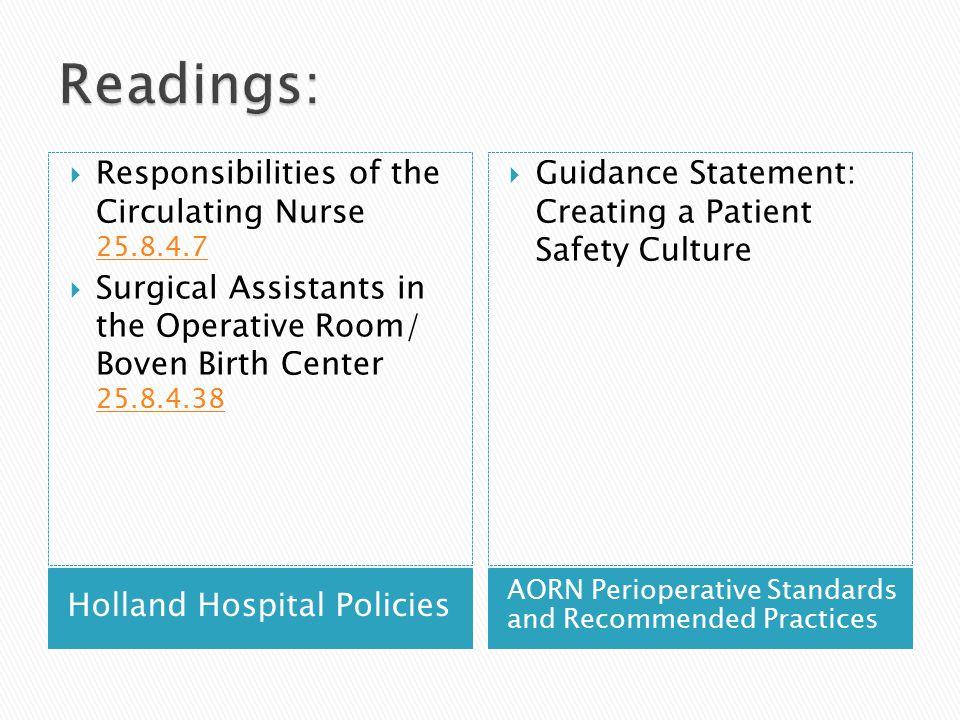 Readings: Responsibilities of the Circulating Nurse 25.8.4.7