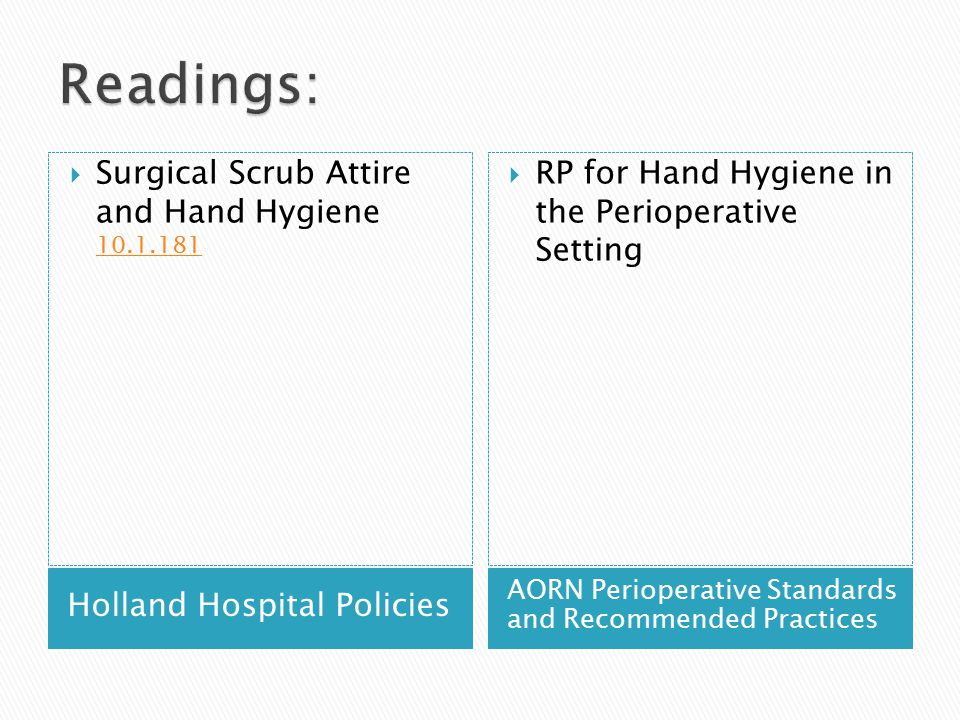 Readings: Surgical Scrub Attire and Hand Hygiene 10.1.181
