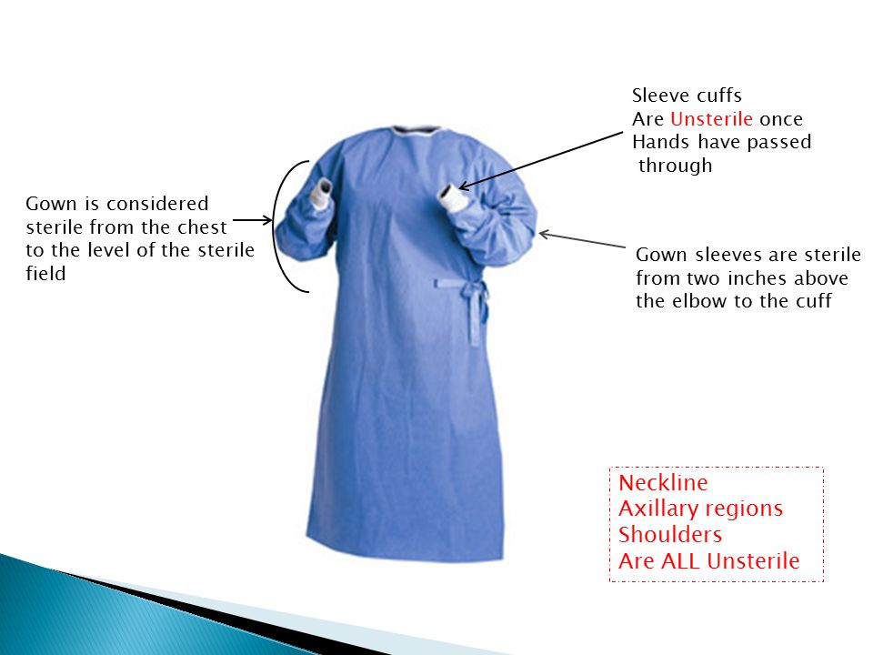 Neckline Axillary regions Shoulders Are ALL Unsterile Sleeve cuffs