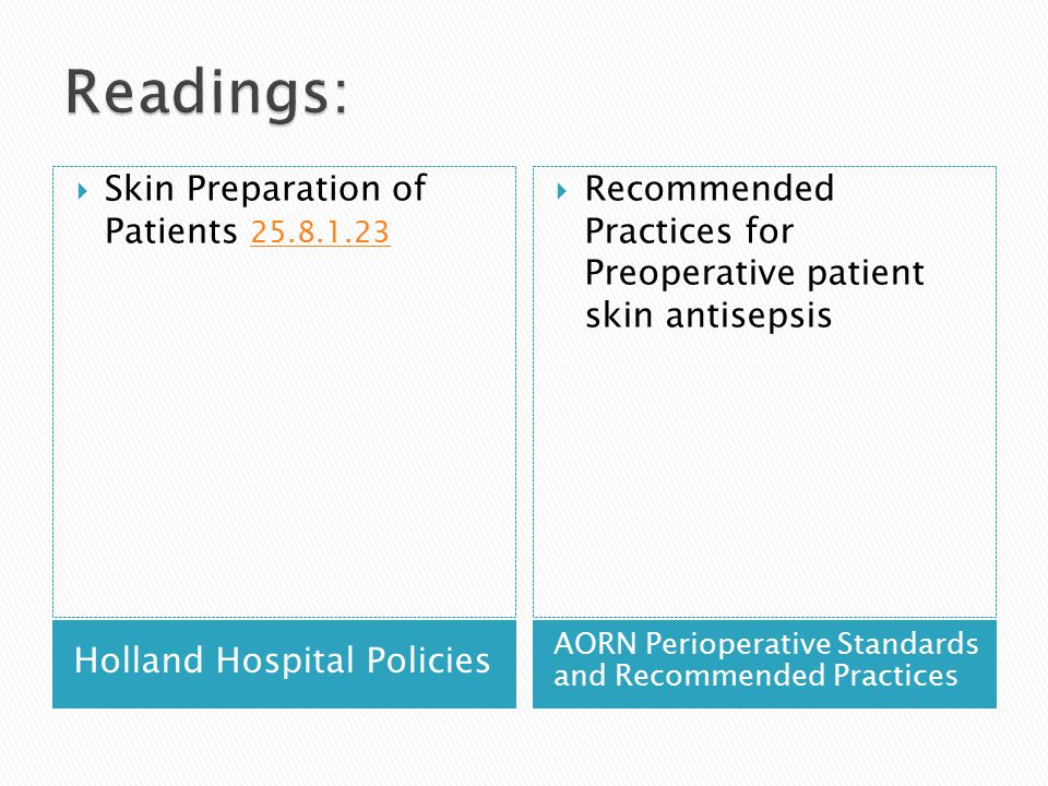 Readings: Skin Preparation of Patients 25.8.1.23