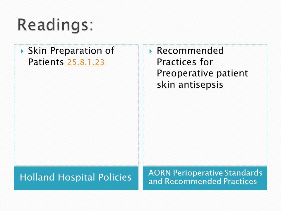 Readings: Skin Preparation of Patients 25.8.1.23