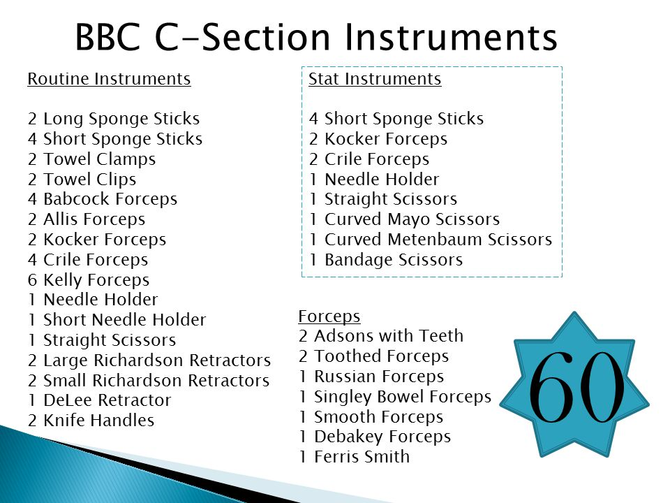 60 BBC C-Section Instruments Routine Instruments 2 Long Sponge Sticks