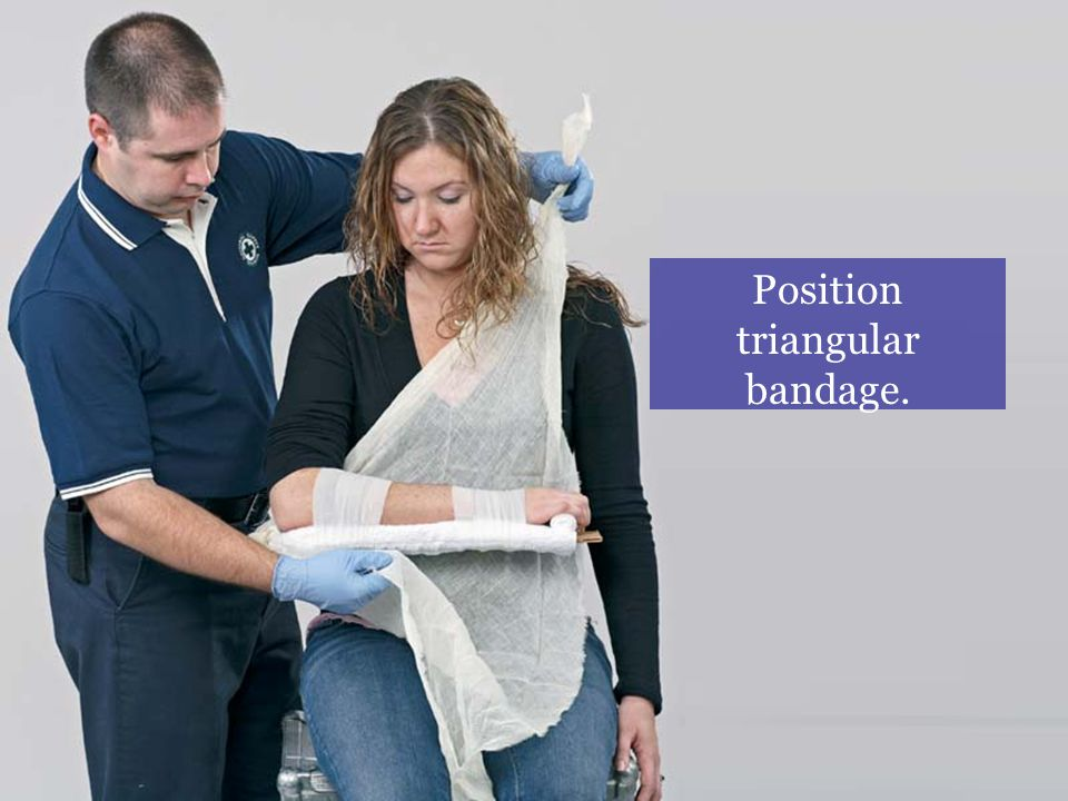 Position triangular bandage.