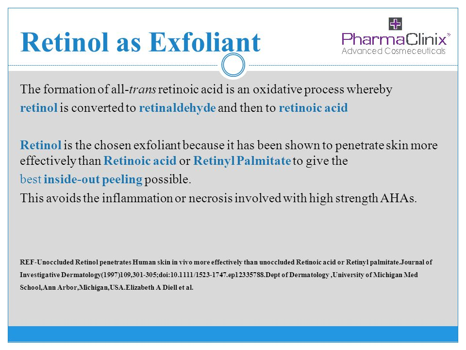 Retinol as Exfoliant The formation of all-trans retinoic acid is an oxidative process whereby.