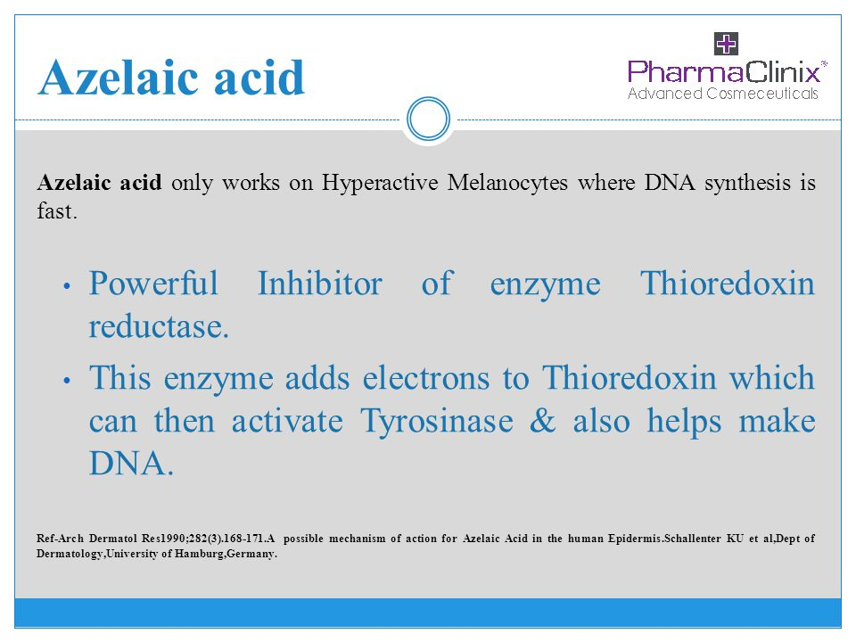 Azelaic acid Powerful Inhibitor of enzyme Thioredoxin reductase.