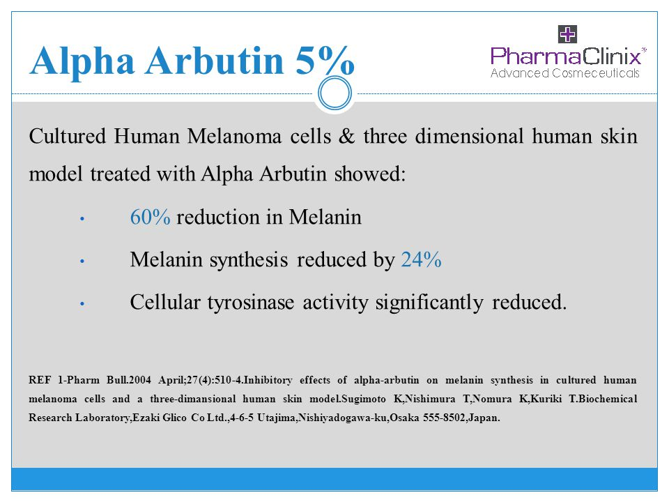 Alpha Arbutin 5% Cultured Human Melanoma cells & three dimensional human skin model treated with Alpha Arbutin showed: