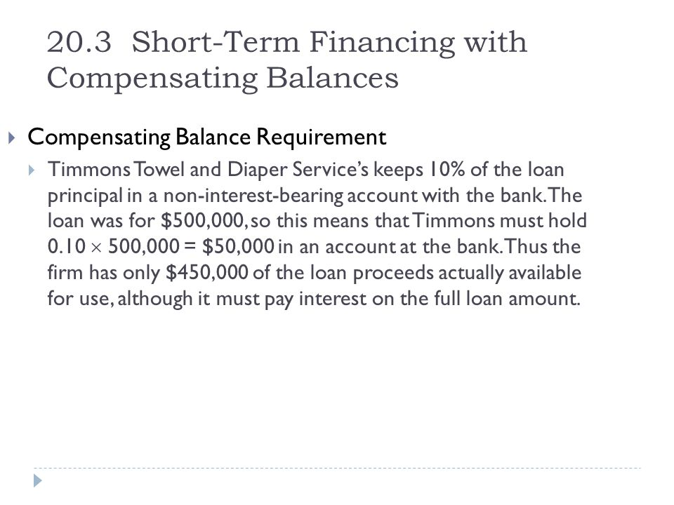 20.3 Short-Term Financing with Compensating Balances