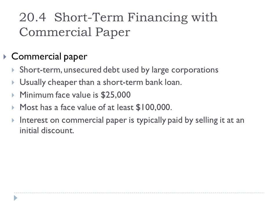20.4 Short-Term Financing with Commercial Paper
