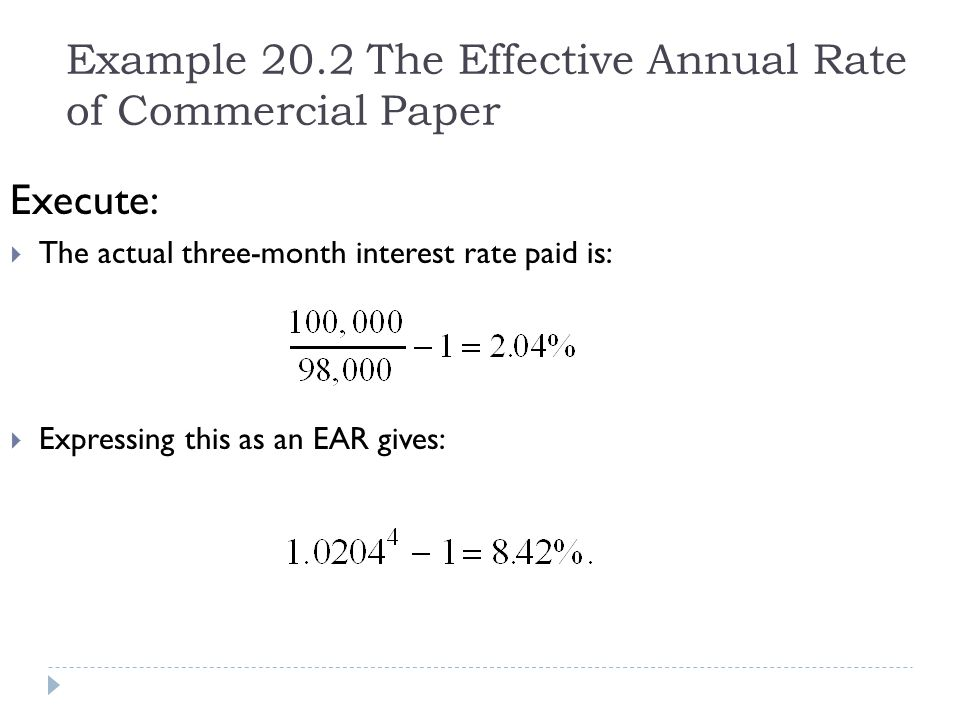 Example 20.2 The Effective Annual Rate of Commercial Paper