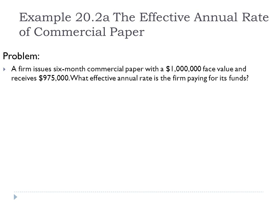 Example 20.2a The Effective Annual Rate of Commercial Paper