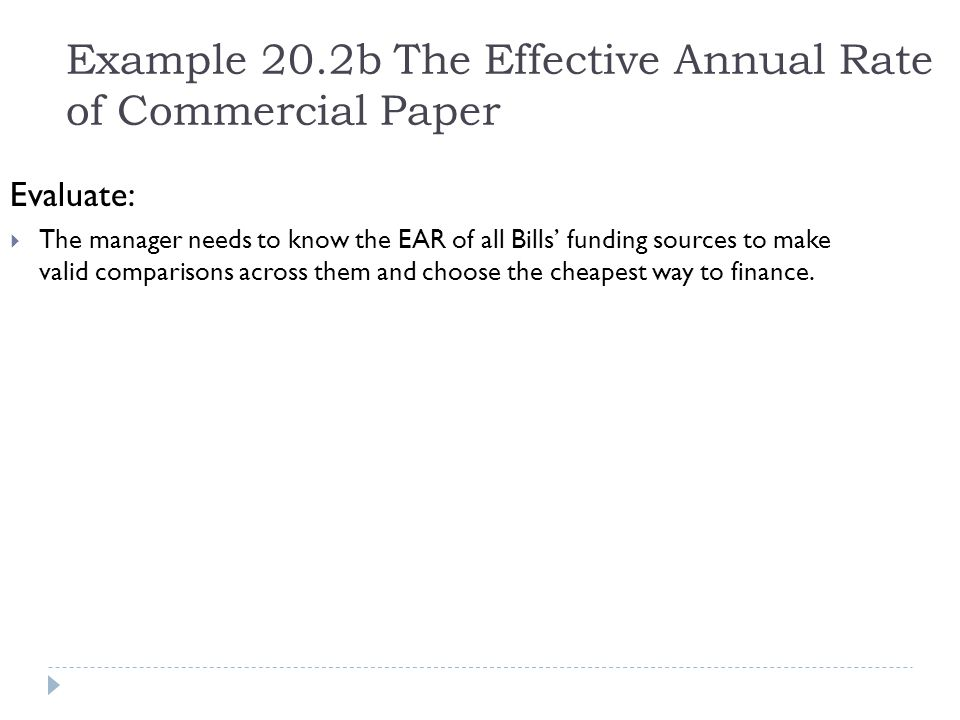 Example 20.2b The Effective Annual Rate of Commercial Paper