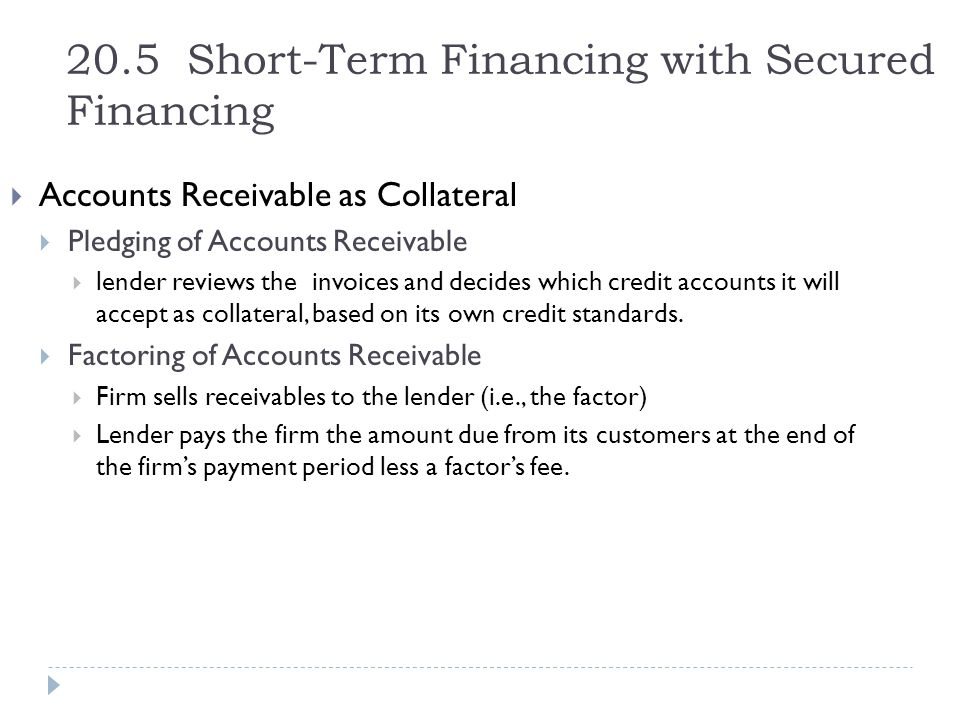 20.5 Short-Term Financing with Secured Financing