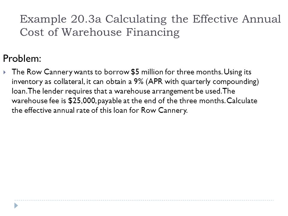 Example 20.3a Calculating the Effective Annual Cost of Warehouse Financing