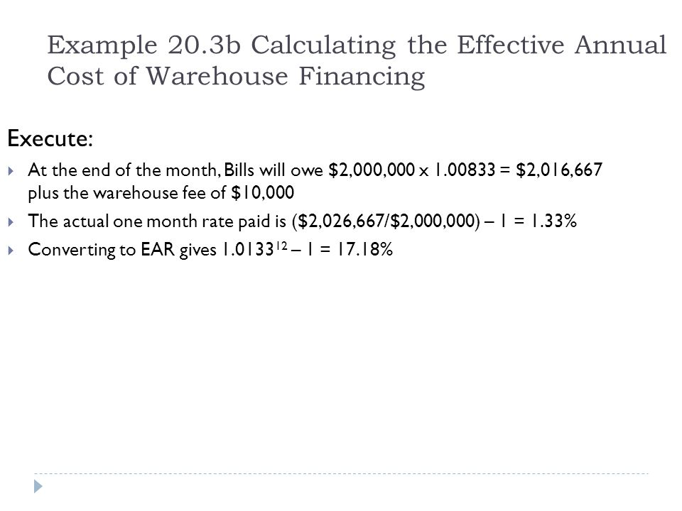Example 20.3b Calculating the Effective Annual Cost of Warehouse Financing