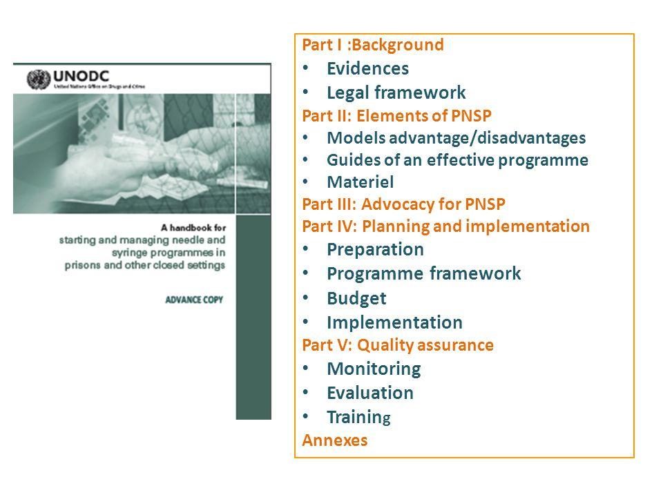 Evidences Legal framework Preparation Programme framework Budget