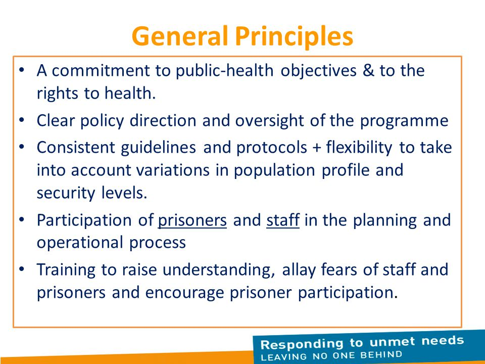 General Principles A commitment to public-health objectives & to the rights to health. Clear policy direction and oversight of the programme.