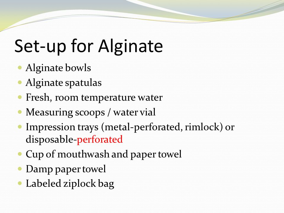 Set-up for Alginate Alginate bowls Alginate spatulas
