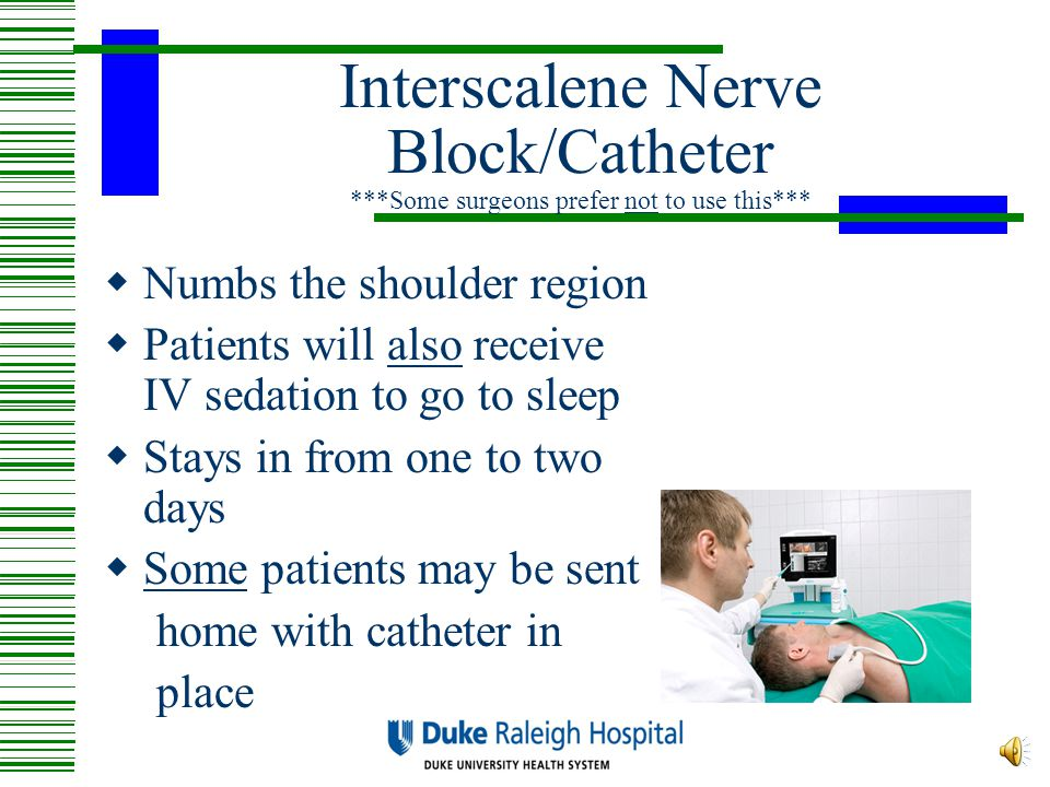 Interscalene Nerve Block/Catheter ***Some surgeons prefer not to use this***