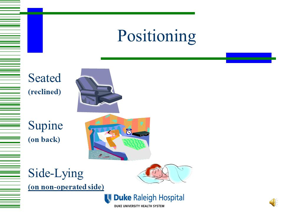 Positioning Seated Supine Side-Lying (reclined) (on back)
