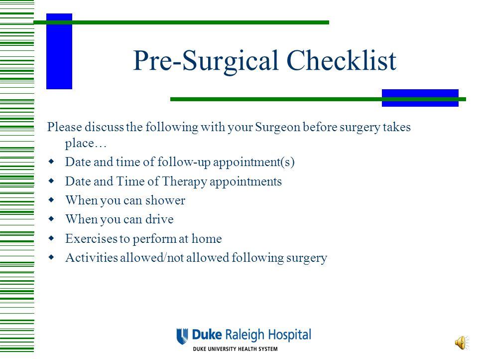 Pre-Surgical Checklist