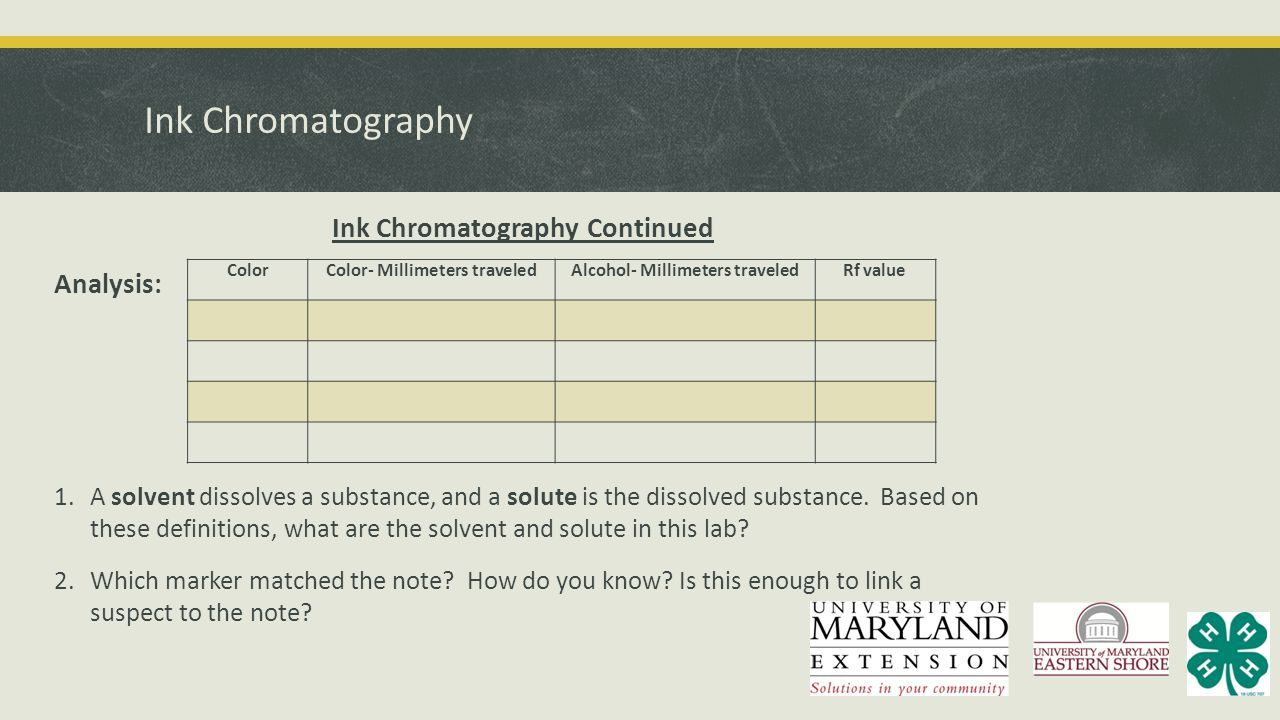 Ink Chromatography Ink Chromatography Continued Analysis: