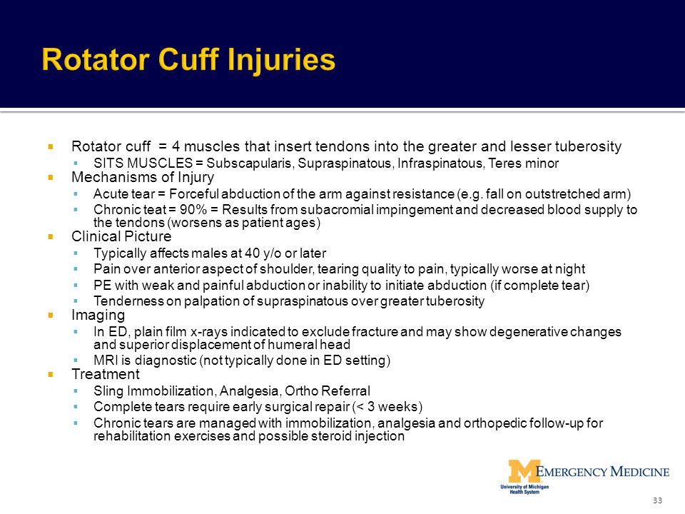 Rotator Cuff Injuries Rotator cuff = 4 muscles that insert tendons into the greater and lesser tuberosity.