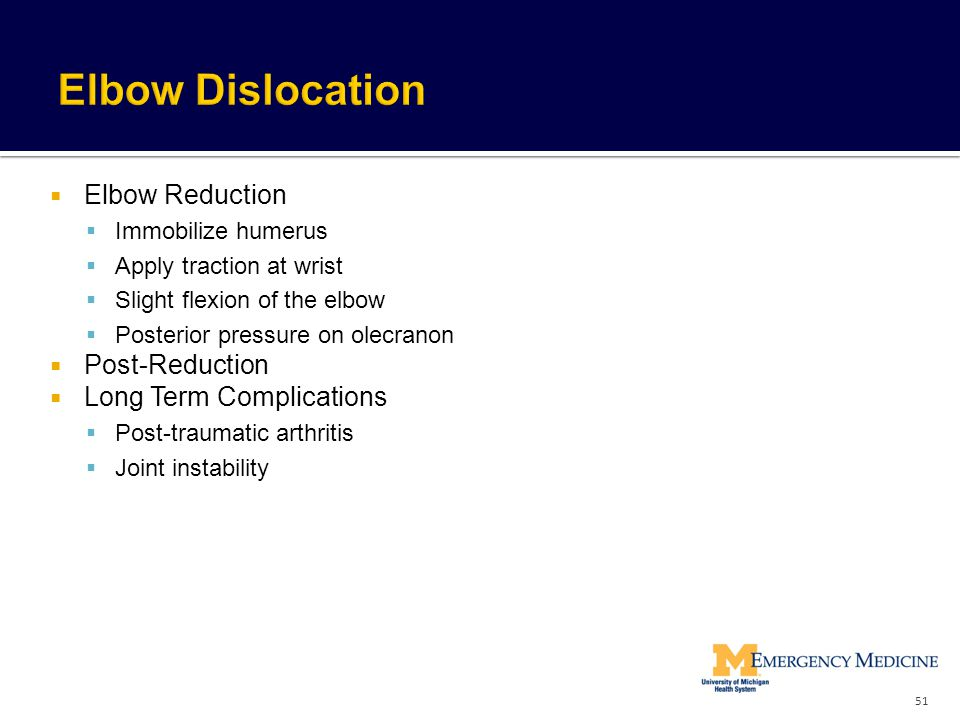 Elbow Dislocation Elbow Reduction Post-Reduction