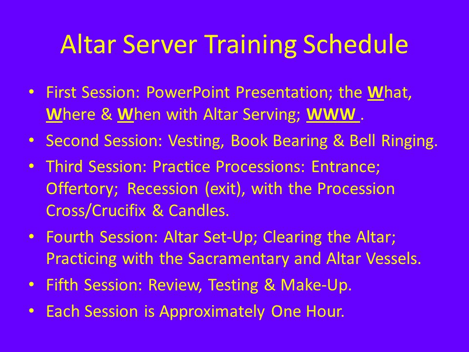 Altar Server Training Schedule