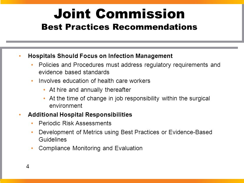Joint Commission Best Practices Recommendations