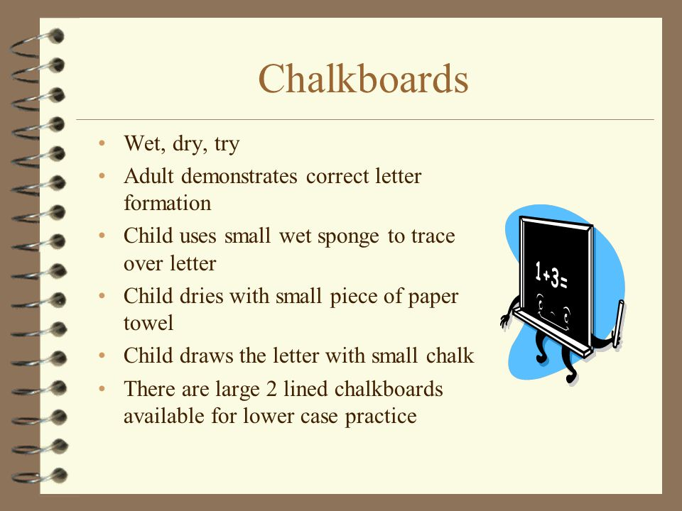Chalkboards Wet, dry, try Adult demonstrates correct letter formation