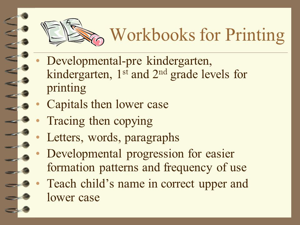 Workbooks for Printing