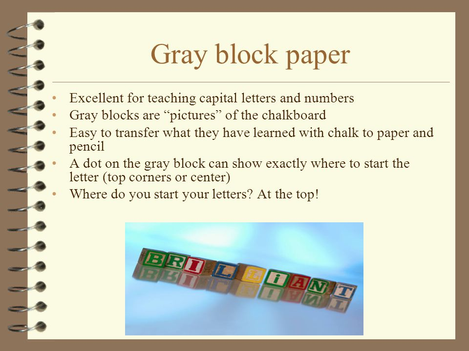 Gray block paper Excellent for teaching capital letters and numbers