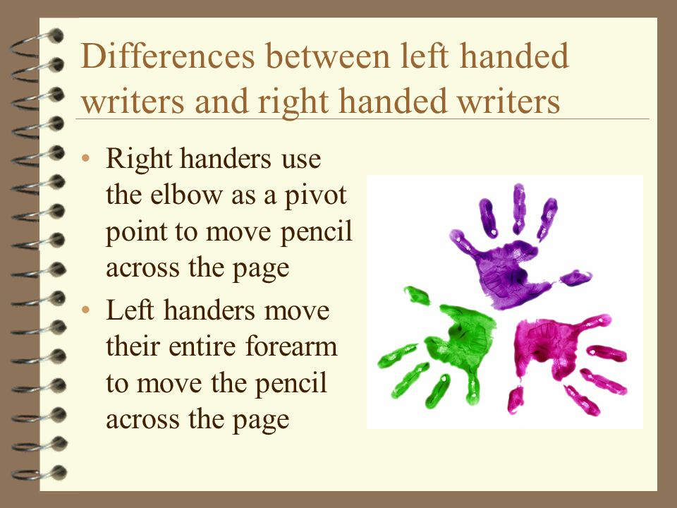 Differences between left handed writers and right handed writers