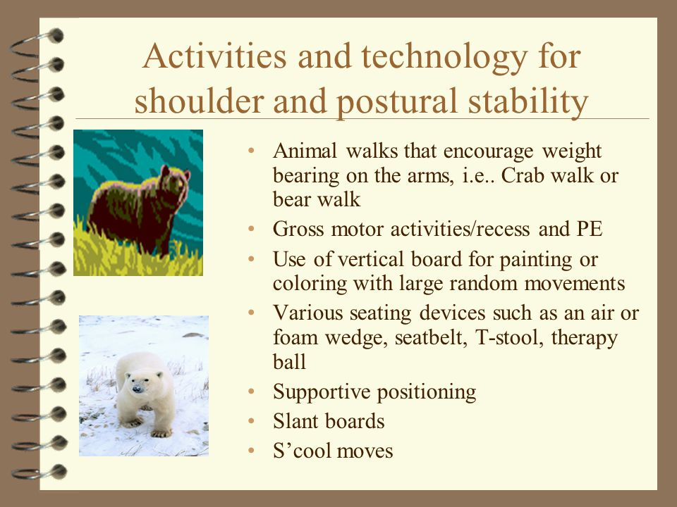 Activities and technology for shoulder and postural stability