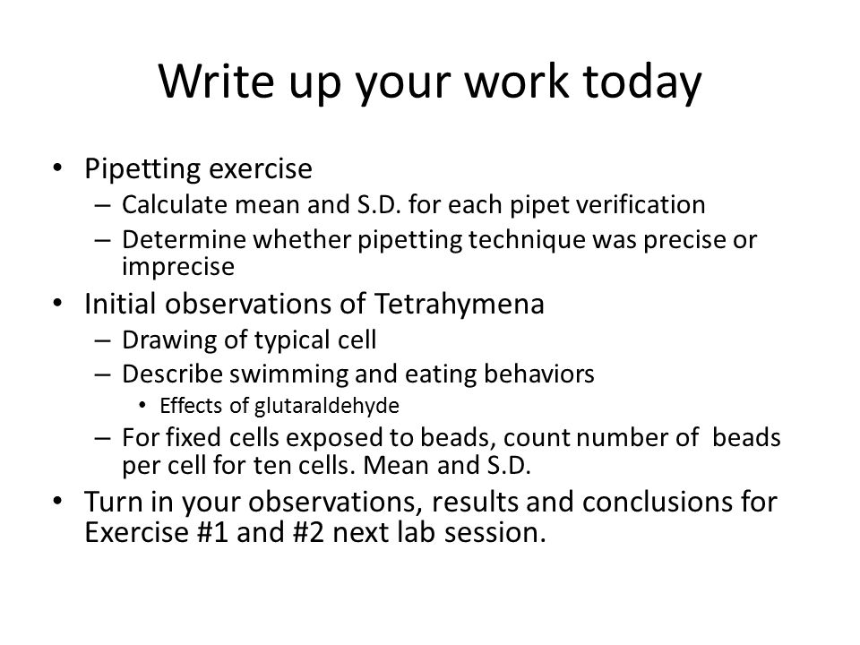 Write up your work today