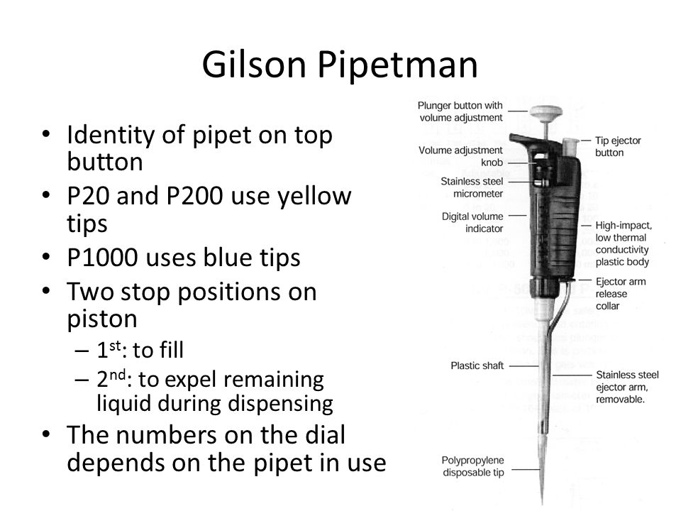 Gilson Pipetman Identity of pipet on top button